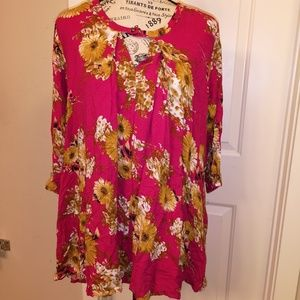 Pink Tunic Jodifl M Oversized Flowy Blouse Medium